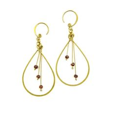 Brass Earrings Large Drope Shape with Red Garnet - Lov'edu - Ethical, Fair Trade & Handmade Accessories, Jewellery, Home Decor & Gifts http://www.lovedu.co.uk/collections/handmade-and-fairtrade-earrings/products/drop-shape-brass-earrings-garnet