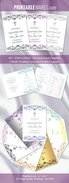 Catholic wedding program templates for Microsoft Word. You can use them for weddings, baptisms or church events. DIY wedding on budget!