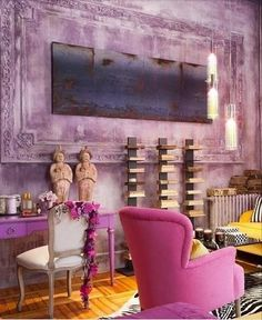 Hot pink + zebra + bright yellow agents = possibly my future bedroom motifs. pink and yellow living room / interior design Interior Design Software, Salon Interior Design, Rosa Sofa, Decoration Design, Bohemian Decor, Boho, My New Room, Chinoiserie, House Colors