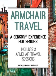 Armchair Travel takes people to faraway places without leaving home. It provides a sensory experience and the opportunity to learn about exotic lands and important past events in a meaningful manner. This is a wonderful activity for seniors living in nurs Assisted Living Activities, Nursing Home Activities, Elderly Activities, Senior Activities, Art Therapy Activities, Work Activities, Senior Crafts, Activity Ideas, Physical Activities