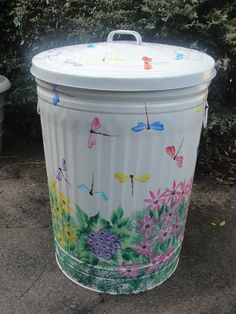 White Dragonfly Metal Trash Can