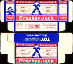 Cracker Jacks were real treats back in the day.they used to be loaded with peanuts and had GOOD toys inside every box! Craft Packaging, Vintage Packaging, Grocery Items, Grocery Store, Miniature Dollhouse, Diy Dollhouse, Barbie Food, Fourth Of July Decor, Cracker Jacks