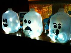 Halloween/Fall Decor crafts--I think we are going to do this with glow sticks!!! Fun