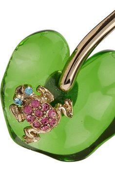 Oscar de la Renta - Gold-tone, Resin And Swarovski Crystal Earrings - one size