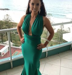 The Portia & Scarlett Liliana gown is a stunning floor-length, long aqua turquoise evening dress with a wrap-style bust with an open back, a plunging bust, bodycon fit and sexy mermaid train. Aqua Prom Dress, Bridesmaid Dresses, Prom Dresses, Formal Dresses, Perfect Prom Dress, Wrap Style, Special Occasion Dresses, Jewel, Evening Dresses