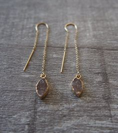 Druzy Gemstone Gold Threader Chain Earrings