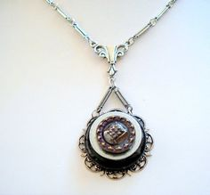 Vintage Steelcut Button Pendant Necklace by joyceshafer on Etsy