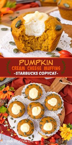 Pumpkin Cream Cheese Muffins - homemade pumpkin muffins with a creamy cheesecake center are the perfect fall breakfast. Easy Starbucks copycat recipe to make at home. Pumpkin Cheesecake Muffins, Pumpkin Cream Cheese Muffins, Pumpkin Spice Muffins, Pumpkin Cream Cheeses, Pumpkin Cookies, Pumpkin Dessert, Savory Pumpkin Recipes, Starbucks Pumpkin, Fall Breakfast