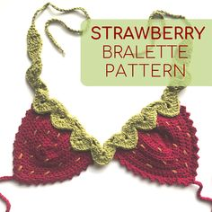 Strawberry Crochet Top PATTERN, Crochet Bralette Pattern only, Crochet Bikini Pattern, Crochet Strawberry Pattern, Strawberry Top Crochet – kat franklin - Crochet Mode Crochet, Crochet Baby, Knit Crochet, Crotchet, Diy Crochet Top, Crochet Crafts To Make And Sell, Ravelry Crochet, Crochet Shirt, Motif Bikini Crochet