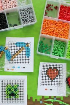 Perler beads are great party activity for artsy kids. Create a Perler beads station and have them make their own Minecraft-inspired creations to take home. See more party ideas and share yours at CatchMyParty.com Minecraft Party Activities, Lego Activities, Minecraft Crafts, Fun Activities For Kids, Crafts For Kids, Minecraft Food Labels, Minecraft Party Decorations, Minecraft Birthday Party, Boy Birthday Parties