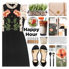 """""""Bottoms Up: Happy Hour"""" by barbarela11 ❤ liked on Polyvore featuring Tory Burch, Gucci, Giambattista Valli, Round Towel Co., MAC Cosmetics, happyhour, contestentry and polyvoreeditorial"""