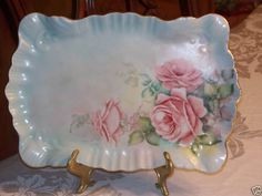 """Antique Porcelain 12 1/4""""x81/4"""" Hand Painted Roses Tray Platter Artist Signed"""
