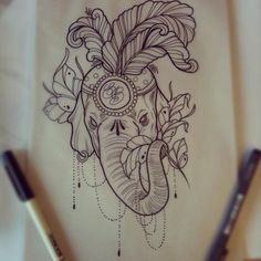 Would love to do something like this as a cover up if it would work. Colorful elephant tattoo | Tattoo ideas