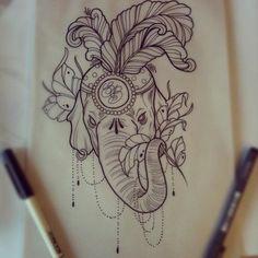 Colorful elephant tattoo | Tattoo ideas