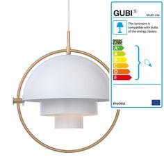 Multi-Lite Pendant Light Ø 36 cm by Gubi in brass / white
