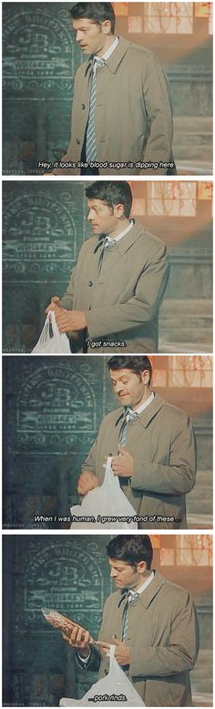 [gifset] 10x21 Dark Dynasty #SPN #Castiel ...me too, cas. It's our white trash dirty secret.