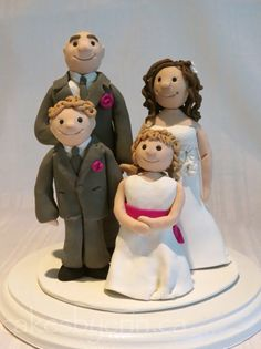 Family of Four Wedding Cake Topper Clay KeepsakeCakes by Erin