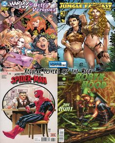Our favorite regular covers out today (11/01) for new comic book day. Harley & Ivy Meet Betty & Veronica #2 by Emanuela Lupacchino, Jungle Fantasy Survivors #6 by Renato Camilo, Peter Parker Spectacular Spider-Man #6 by Paulo Siqueira, & Robyn Hood the Hunt #4 by Sheldon Goh. #NCBD #comics #comicbooks