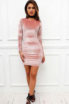 New Womens Ladies Pink Velvet Velour Long Sleeve Mini Bodycon Cocktail Dress