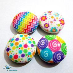 Handmade round geometric  beads - 4 beads-