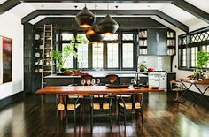 Rolling Ladders are a brilliant idea for a kitchen!