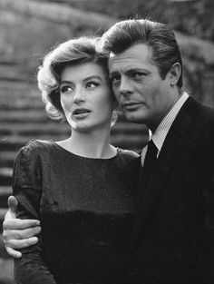 "Marcello Mastroianni and Anouk Aimée - in the film ""La Dolce Vita"" (Federico Fellini, French Movies, Old Movies, Classic Hollywood, Old Hollywood, I Movie, Movie Stars, Anouk Aimée, Pier Paolo Pasolini, Marcello Mastroianni"