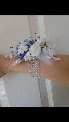 Navy Blue / White Silk Wrist Corsage with pearls.