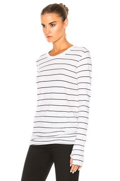 Image 2 of Enza Costa Cashmere Loose Crew Tee in White & Black