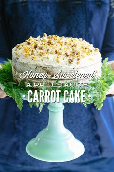 A super easy homemade carrot cake that's made with healthy ingredients: whole grain flour, honey, applesauce, and freshly grated carrots. No refined sugar!