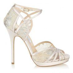 New Wedding Shoes Ivory Sandals Jimmy Choo 47 Ideas White High Heel Sandals, Ivory Sandals, Lace High Heels, Ivory Shoes, Lace Pumps, Satin Shoes, Shoes Sandals, Heeled Sandals, Lace Shoes