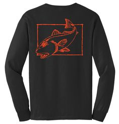 f13e0a5cc533 Redfish Cotton Long Sleeve Shirt | Redfish Fishing Shirt | Mens Fishing T- shirt