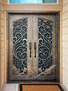 👌👌👌 You have seen many different color iron doors and wondered which is the most popular. You may even be tired of black and brown finish and want to venture into something that will change up your house's exterior. Why don't you try a gold color iron door? -- ☎️☎️☎️ Call 877-205-9418 for Orders and Inquiries ⚠️⚠️⚠️ About this Beautiful IRON DOOR: Apollo Double Entry Iron Door, Gold Finish Color -- #irondoor #iwantthatdoor #wroughtirondoor #universalirondoors #ironfrontdoor… Iron Front Door, Wrought Iron Doors, Apollo, Black And Brown, It Is Finished, Brown Trim, Apollo Program