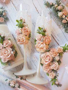 Свадебные бокалы - купить или заказать в интернет-магазине на Ярмарке Мастеров - EOO4NRU | Бокалы на свадьбу в персиковых оттенках. …