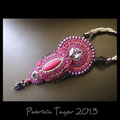 Blooming Fuchsia - Soutache Necklace in Pink, Dark Lilac & Silver OOAK