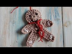 How to Crochet a Gingerbread Man Christmas Decoration. In this weeks video I show you how to crochet my little Gingerbread Man, perfect as a tree decoration or to add to your own homemade Christmas cards. I hope you enjoy. Crochet Christmas Ornaments, Christmas Crochet Patterns, Christmas Bells, Christmas Crafts, Christmas Decorations, Crochet Snowflakes, Tree Decorations, Christmas Tree, Crochet Stitches Free