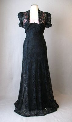 1930s lace evening gown with matching bolero jacket. Via Couture Allure Vintage Fashion.