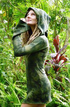 $110 Mini Goddess Hemp Fleece Hooded Dress Long Belled Sleeves Lichen Forest Pixie