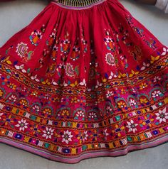 Fine upcycled textile creations by ArtisanOfRajasthan from Rajasthan, India Hand Work Embroidery, Indian Embroidery, Hand Embroidery Designs, Skirt Embroidery, Navratri Dress, Garba Dress, Sindhi Dress, Navratri Garba, Kutch Work Designs