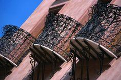 Elaborate wrought iron balconies in #Oristano. #sardinia