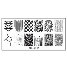 big nail plates XL rectangular designs larger full nail geometric abstract shapes animal themes floral plants stamping polish image scraper manicure create DIY art stamper Mosaic Mastery grass, paint stripes and broken glass shapes