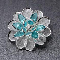 bule acrylic brooch brooch with flower,OEM brooch wholesale