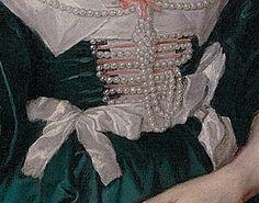 Bodice detail of Anne Sophia, née Herbert Countess of Carnarvon by Sir Anthony van Dyck, 1633-35.