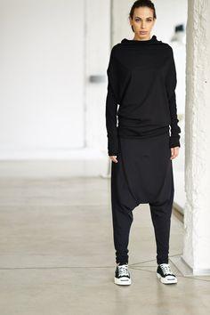 Negro largo superior / gran tamaño manga blusa / por AryaSense
