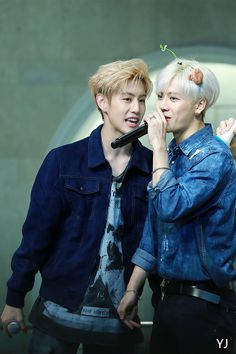 Is there a plant growing out of your head??? |GOT7| Jackson Wang & Mark #got7 #jackson #mark