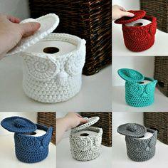 Owl Crochet Patterns, Crochet Basket Pattern, Amigurumi Patterns, Crochet Stitches, Crochet Mug Cozy, Quick Crochet, Knit Crochet, Crochet Toilet Roll Cover, Crochet Home Decor