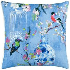 Designers Guild Istoriato Cushion - 50x50cm - Cobalt (140 CAD) ❤ liked on Polyvore featuring home, home decor, throw pillows, blue, blue accent pillows, cobalt blue throw pillows, blue home decor, cobalt blue home accessories and cobalt blue accent pillows