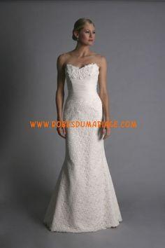 Modern Trousseau robe de mariée simple pas cher magnifique décorée de cristal satin