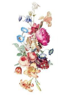 Vintage Blume Tattoo, Vintage Flower Tattoo, Vintage Flowers, Vintage Floral Tattoos, Floral Foot Tattoo, Vintage Flower Arrangements, Vintage Tattoo Design, Vintage Flower Prints, Vintage Tattoo Sleeve