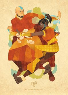 Airbending with Aang and Korra by IsisT (OH MY GOODNESS LOVE ADULT AANG!!!)