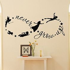 Peter Pan Wall Decal Children Flying Silhouette Never Grow Up Quote Fantasy Fairytale Infinity Symbol Wall Decals Nursery Kids Q037 #walldecals #nurserydecor #vinylstickers #peterpan http://www.amazon.com/dp/B00WIRUHVU/ref=cm_sw_r_pi_dp_ofHtvb07AR2H6